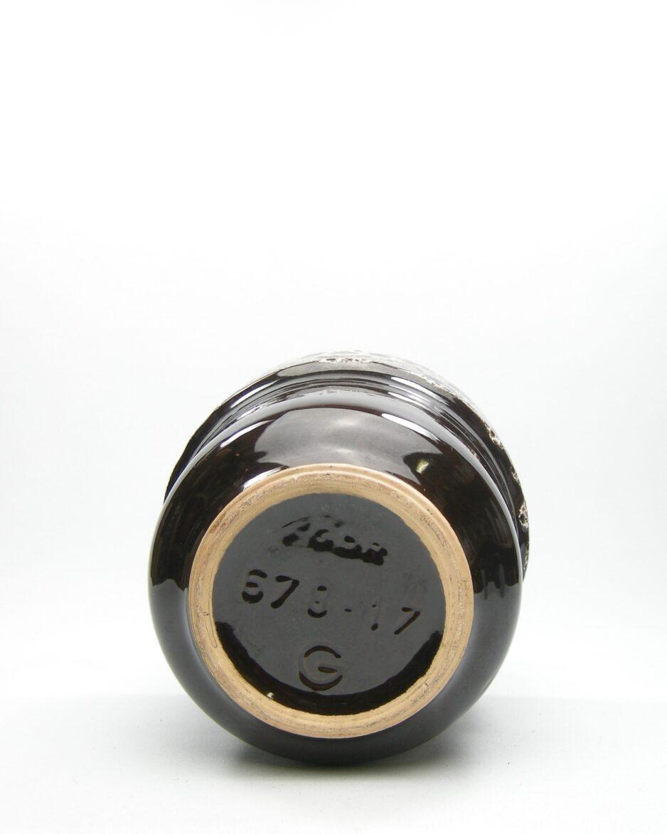 647 - Vintage bloempot GDR 529-17C bruin-wit