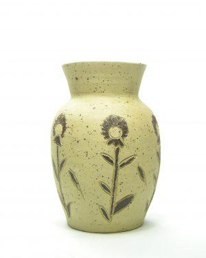 138-vaas-Bronlaak-Pottery-bruin-met-bloemen