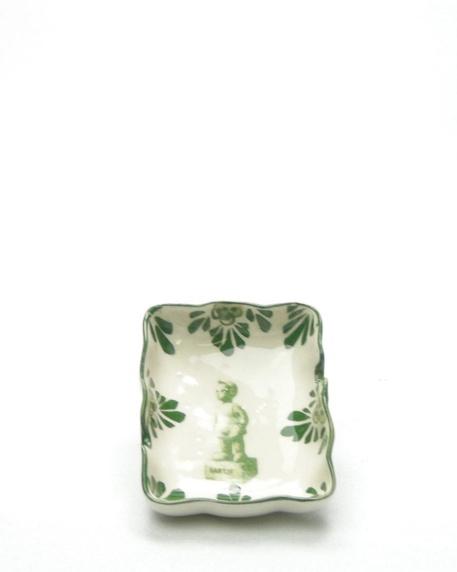 189-Vintage-asbak-Bartje-handpainted-groen-wit