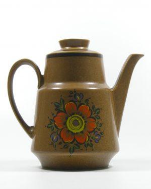 287 – koffie servies met 5 kop en schotels bruin (3)