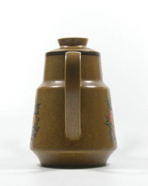 287 – koffie servies met 5 kop en schotels bruin (4)