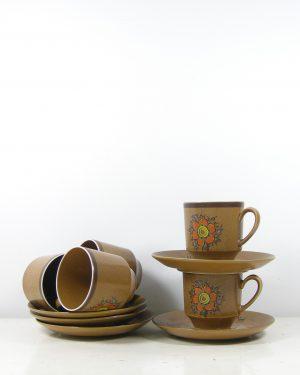 287 – koffie servies met 5 kop en schotels bruin (6)