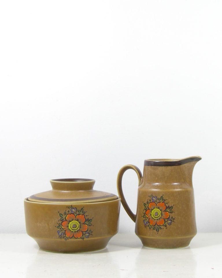 287 – koffie servies met 5 kop en schotels bruin (7)