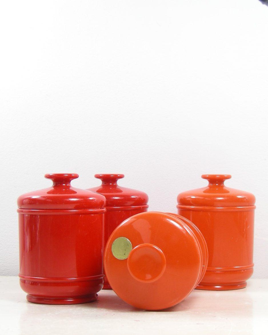 320 - kruiden potjes Emsa West Germany oranje en rood