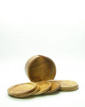 323-onderzetters van hout in houder