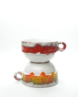 331 - soepkommen wit oranje en wit rood
