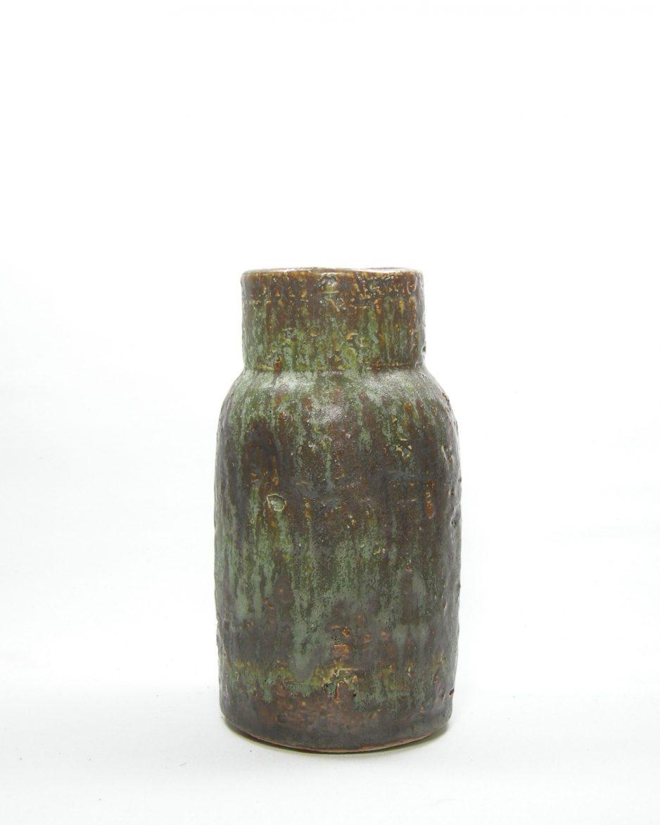 341-vaas grof en zwaar keramiek groen - bruin