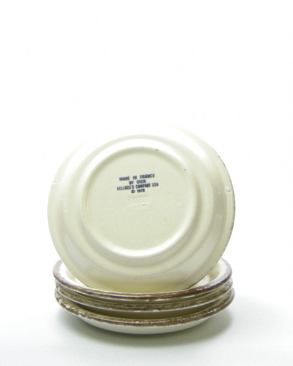 345-ontbijt kommen Kellogg's Company USA 1978 made bij Gien France bruin