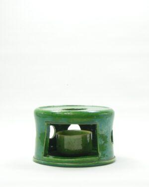 346 - warmhouder met waxinelicht houder groen