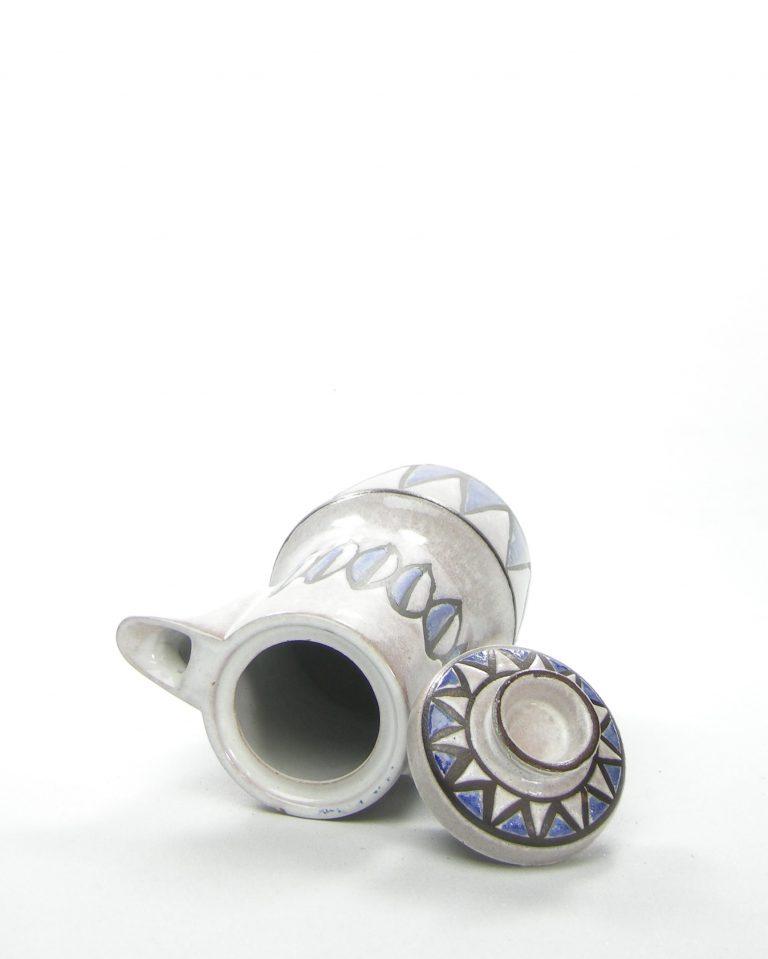 351 – koffiepot grijs blauw – potjesenvaasjes.nl , bloempot, bloempotten, bloempotjes, vaas, vazen, vaasjes, vintage, retro, West Germany, East Germany, servies, keramiek, aardewerk (71)