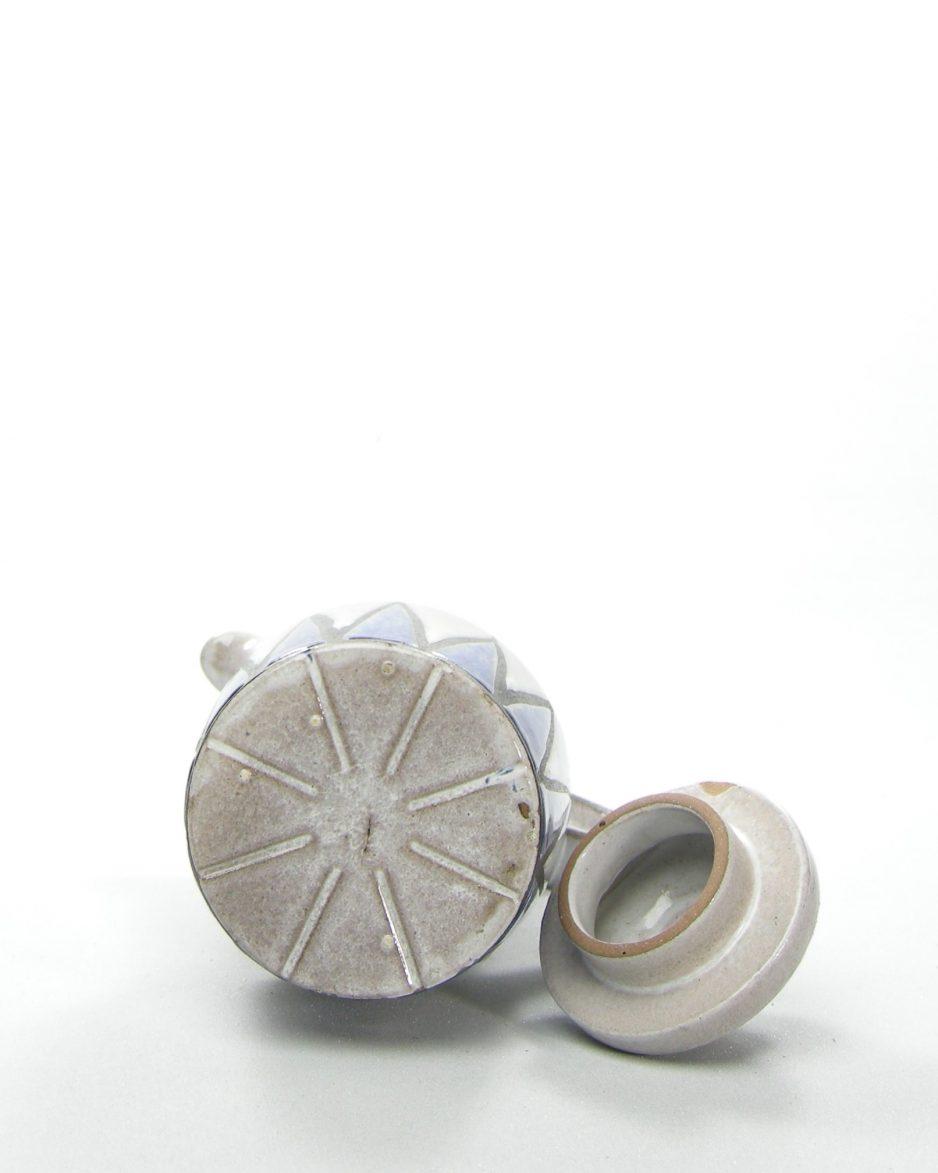 351-Koffiepot met motief grijs-blauw