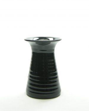 361 – vaas op stokjes gebakken zwart – bloempot, bloempotten, bloempotjes, vaas, vazen, vaasjes, vintage, retro, keramiek, aardewerk (2)