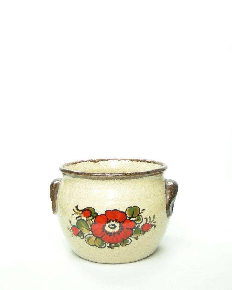 417 – bloempot bruin met bloemen potjesenvaasjes.nl , bloempot, bloempotten, bloempotjes, vaas, vazen, vaasjes, vintage, retro, West Germany, East Germany, servies, keramiek, aardewerk (3)