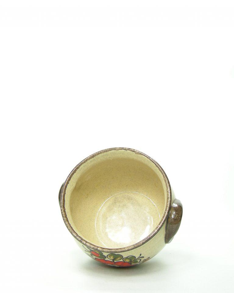 417 – bloempot bruin met bloemen potjesenvaasjes.nl , bloempot, bloempotten, bloempotjes, vaas, vazen, vaasjes, vintage, retro, West Germany, East Germany, servies, keramiek, aardewerk (6)
