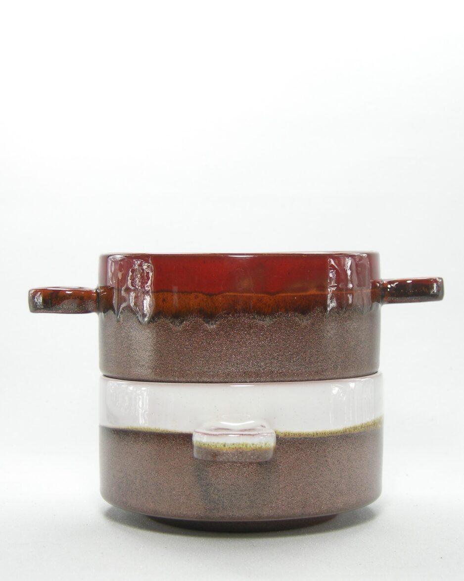 489 - soepkommen bruin-rood en bruin-wit