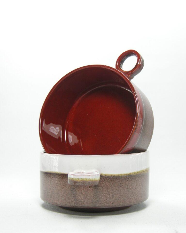 489 – soepkommen bruin-rood en bruin-wit