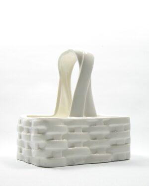 509 - bloempot gevlochten met hengsel wit