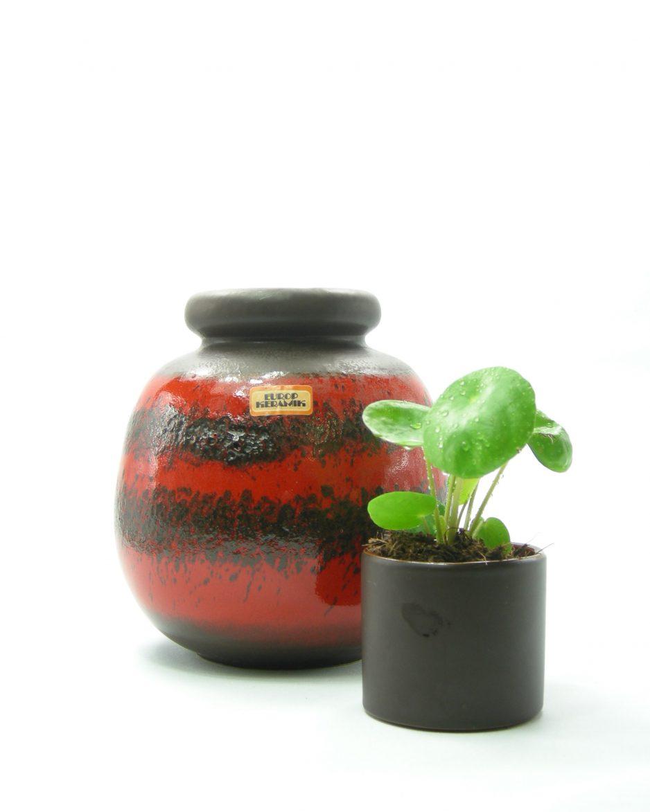 542 - vaas Europ Keramik Scheurich 284-19 bruin-rood