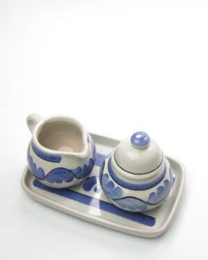 590 - melk & suiker setje blauw grijs