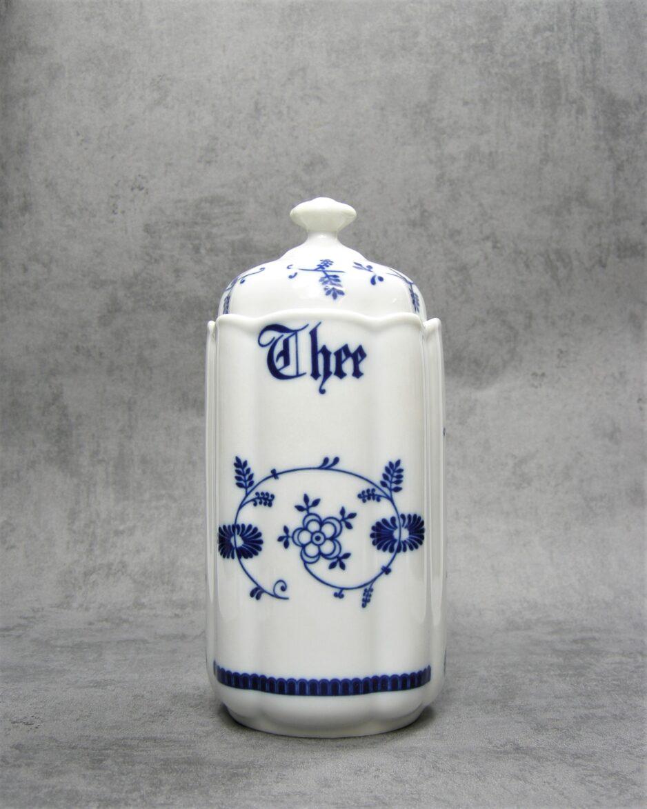 601 - voorraadpot Thee WVL motief Saks wit-blauw