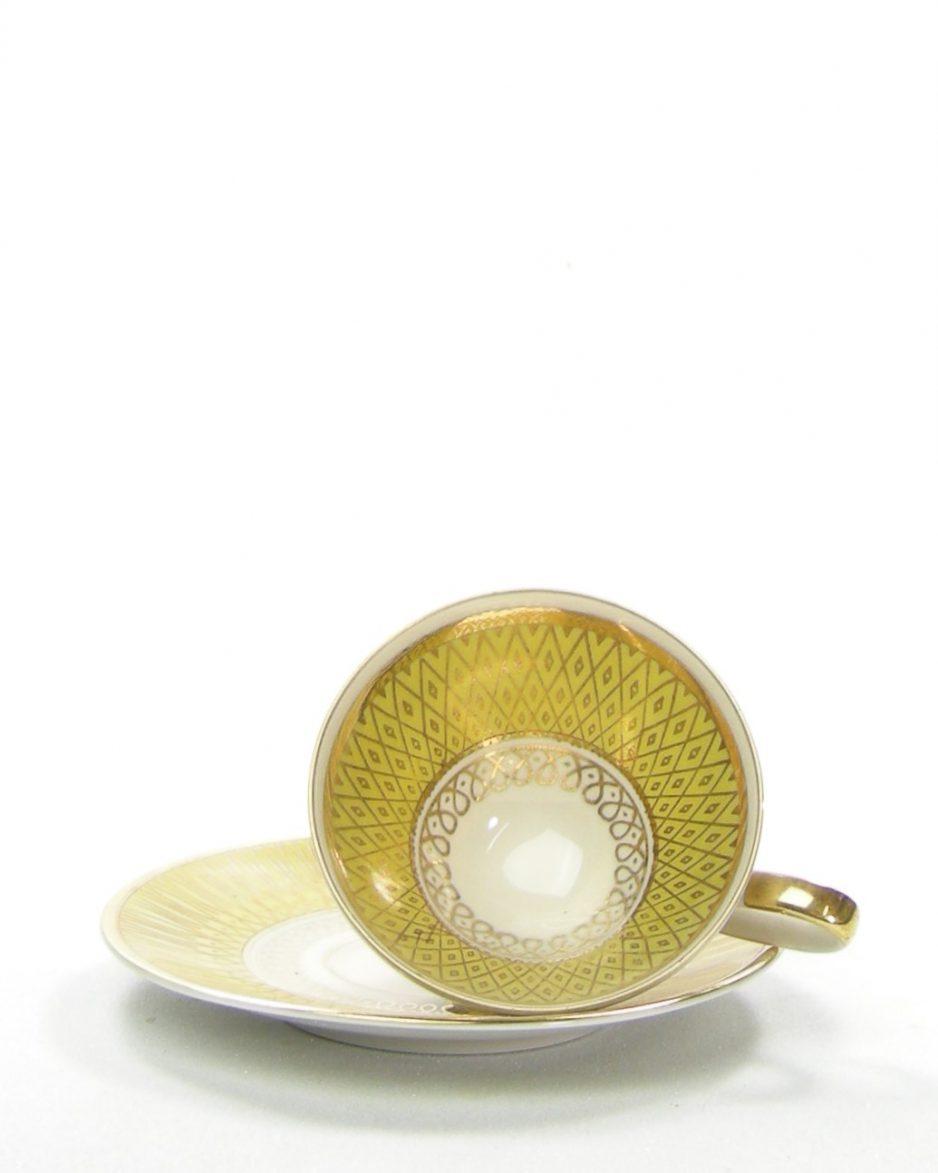 611 - Kop en schotel Bavaria Seltmann goud-wit