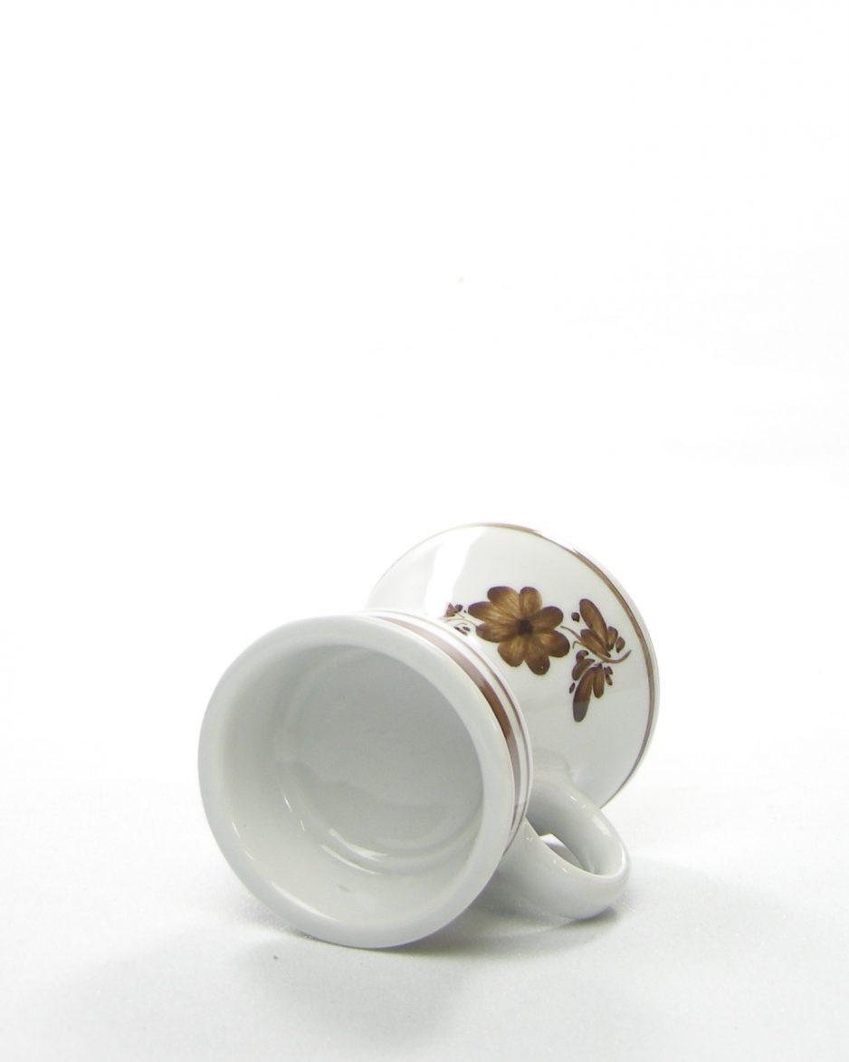 616 - Kandelaar met bloemen bruin-wit