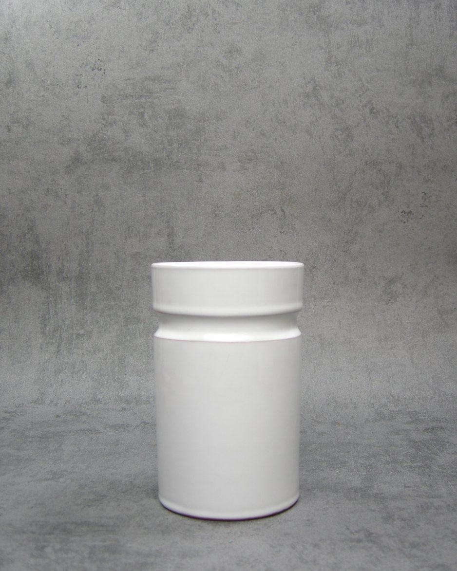 642 - Vintage bloempot cilinder model wit