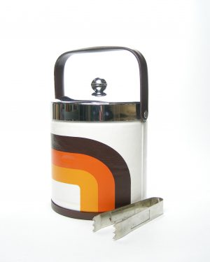 668 - Vintage ijsemmer wit-oranje-bruin met ijstang