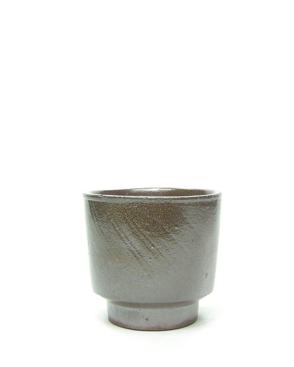 682 - bloempot metalic bruin