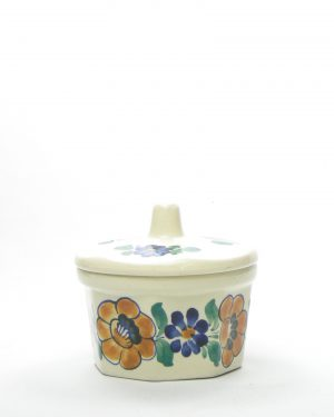 703 - potje met deksel Wloclawek Poland 602 crème met bloemen