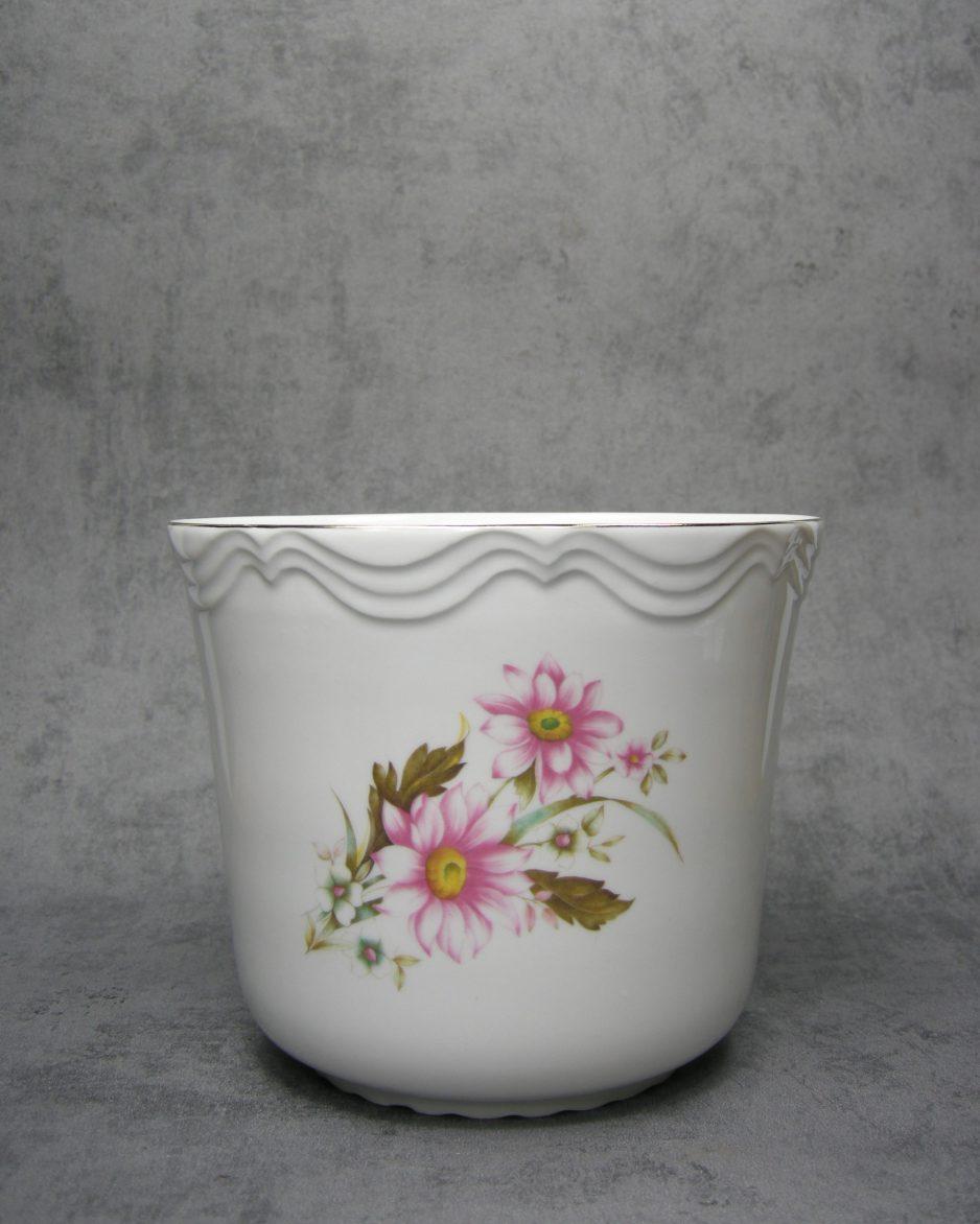 705 - Bloempot Alba Julia Romania porselein wit met bloemen