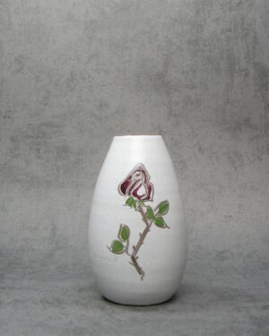 649 – vaasje Holands aardewerk wit met roos jaren 50