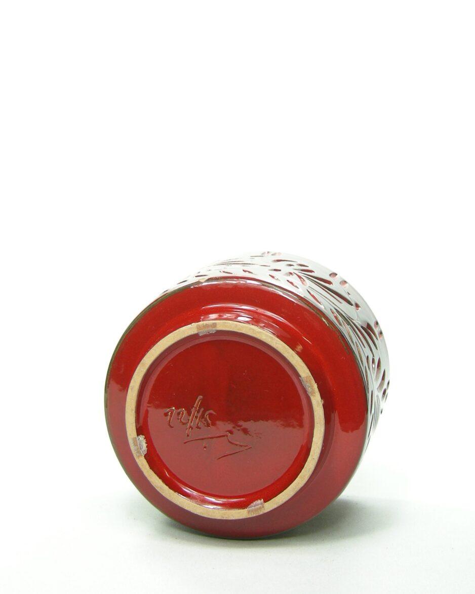 676 - bloempot made in Italy 1215 rood-zwart