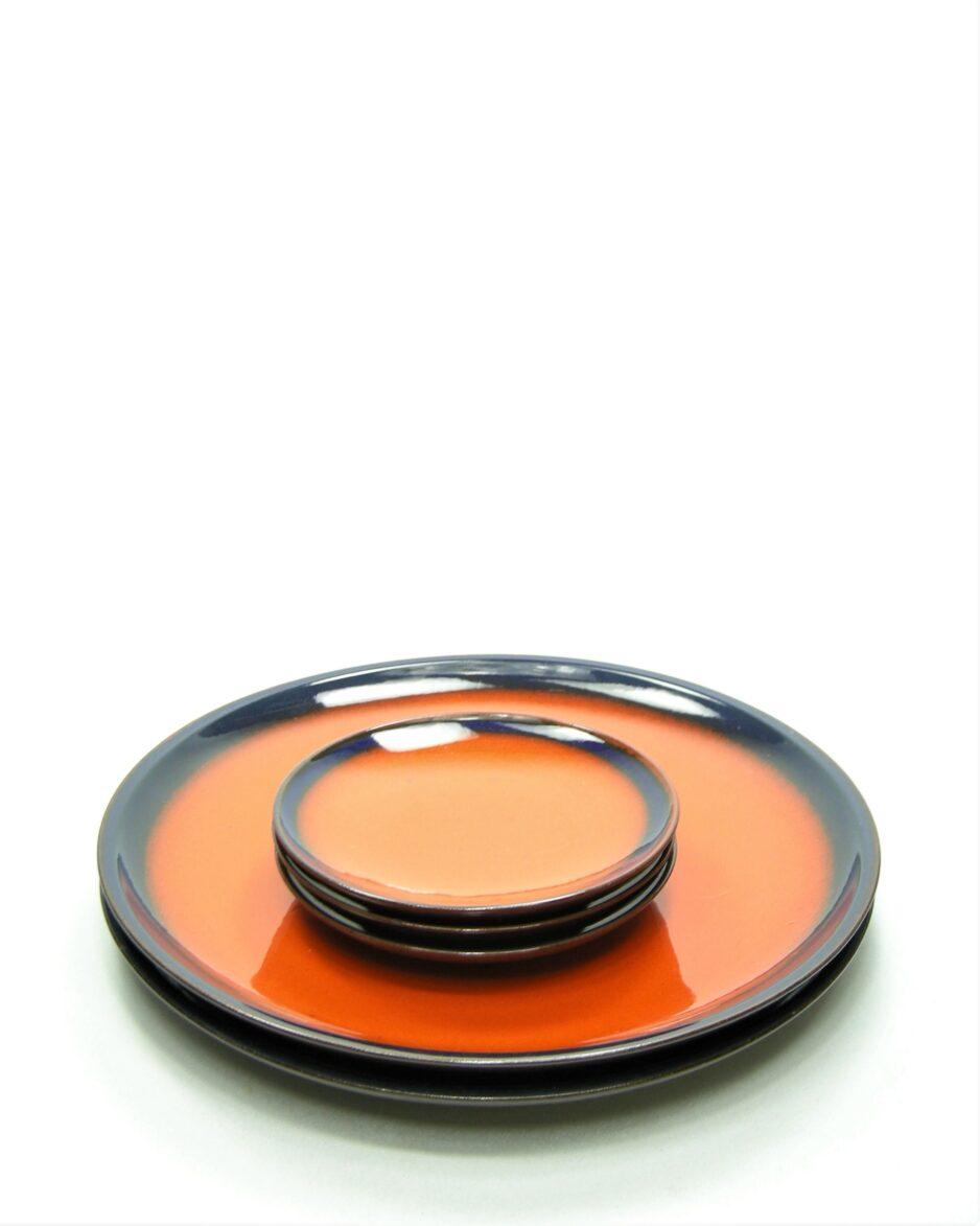 758 - borden potterbakkerij 'T Vuur oranje - blauw - bruin