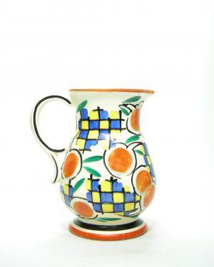760 – pitcher Ditmar Urbach Czechoslovakia jaren 30 wit – oranje – blauw  -groen -geel