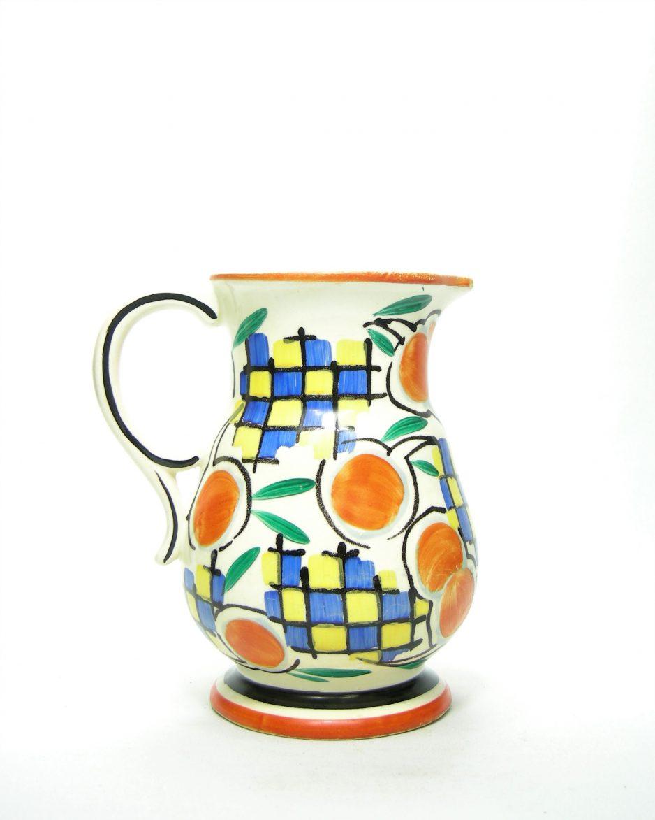 760 - pitcher Ditmar Urbach Czechoslovakia jaren 30 wit - oranje - blauw -groen -geel