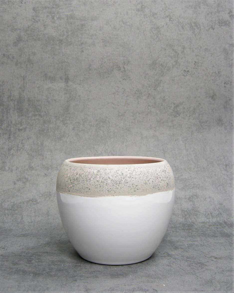 776 - bloempot met gekleurde rand wit - bruin