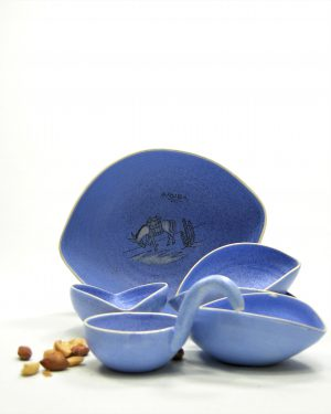 782 – pinda set ARUBA hand geschilderd blauw (1)