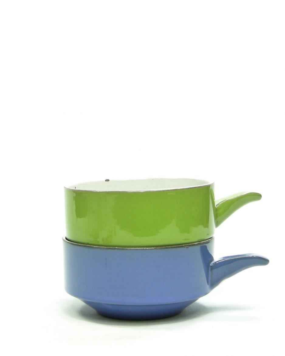 786 - soepkommen met handvat groen en blauw