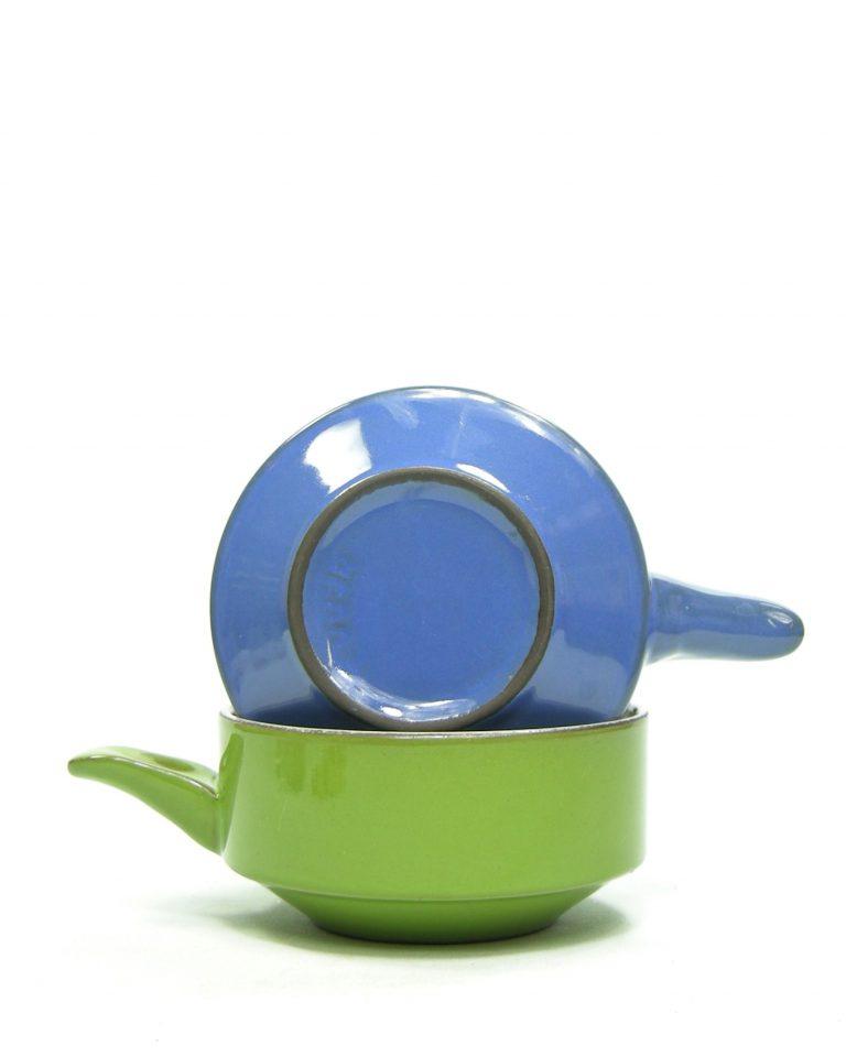 786 – soepkommen met handvat groen en blauw