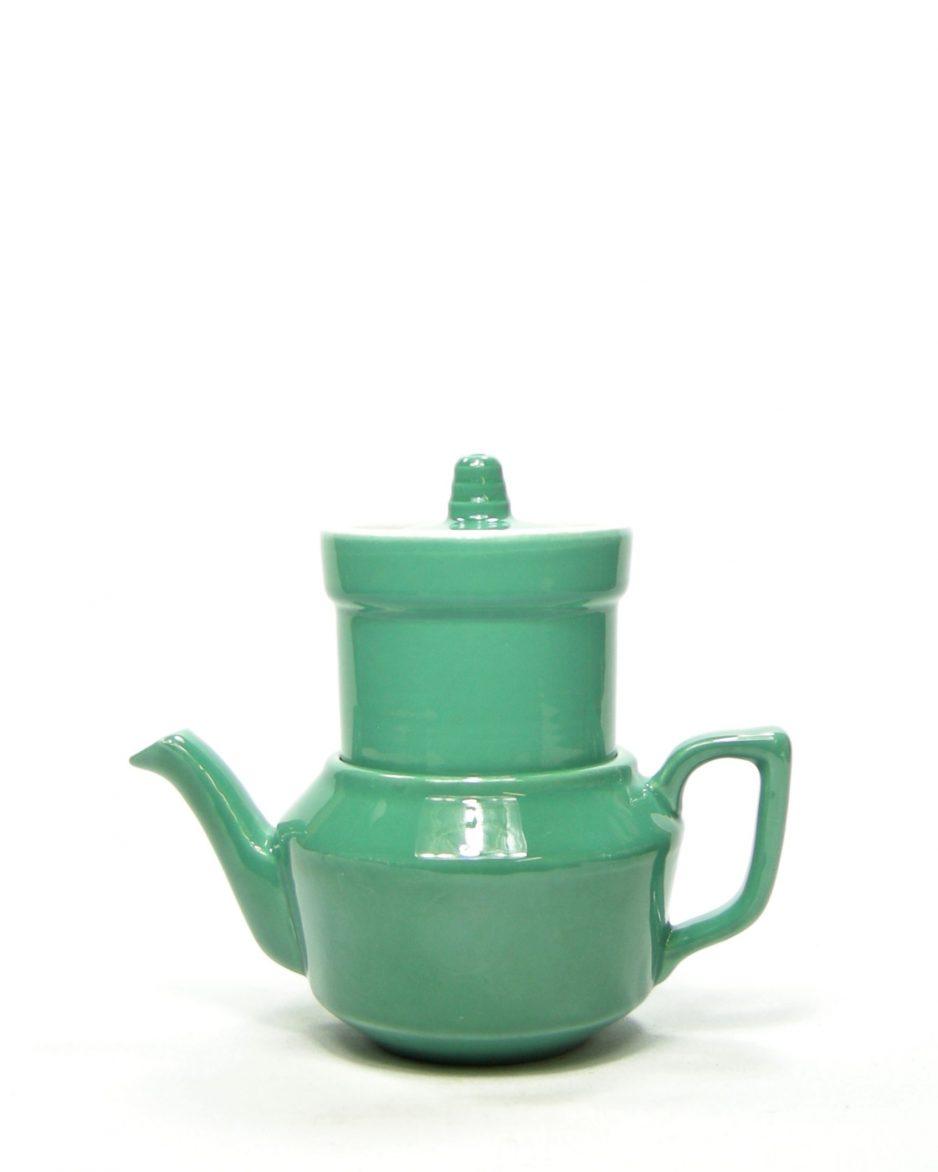 820 - koffiepotje op stokjes gebakken groen