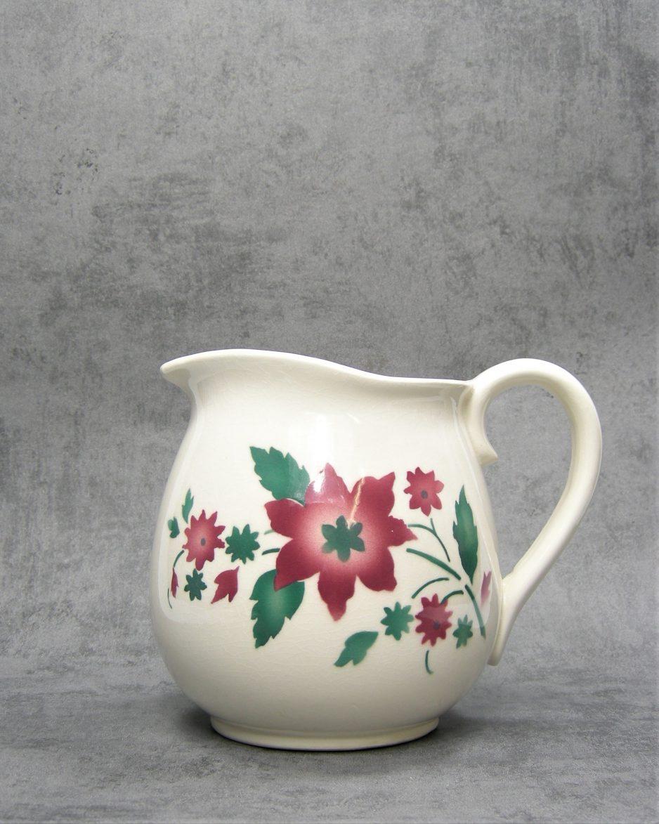 862 - pitcher Steingut Elsterwerda 1258/3 wit - groen - roze