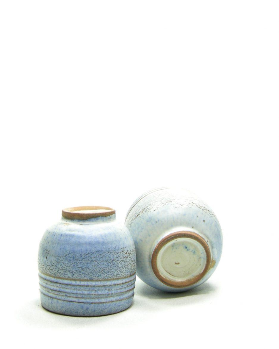 897 - mini bloempotje blauw - bruin