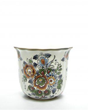 898 - bloempot Flora Keramiek Delfts Polychroom 16R wit - groen - bruin - blauw