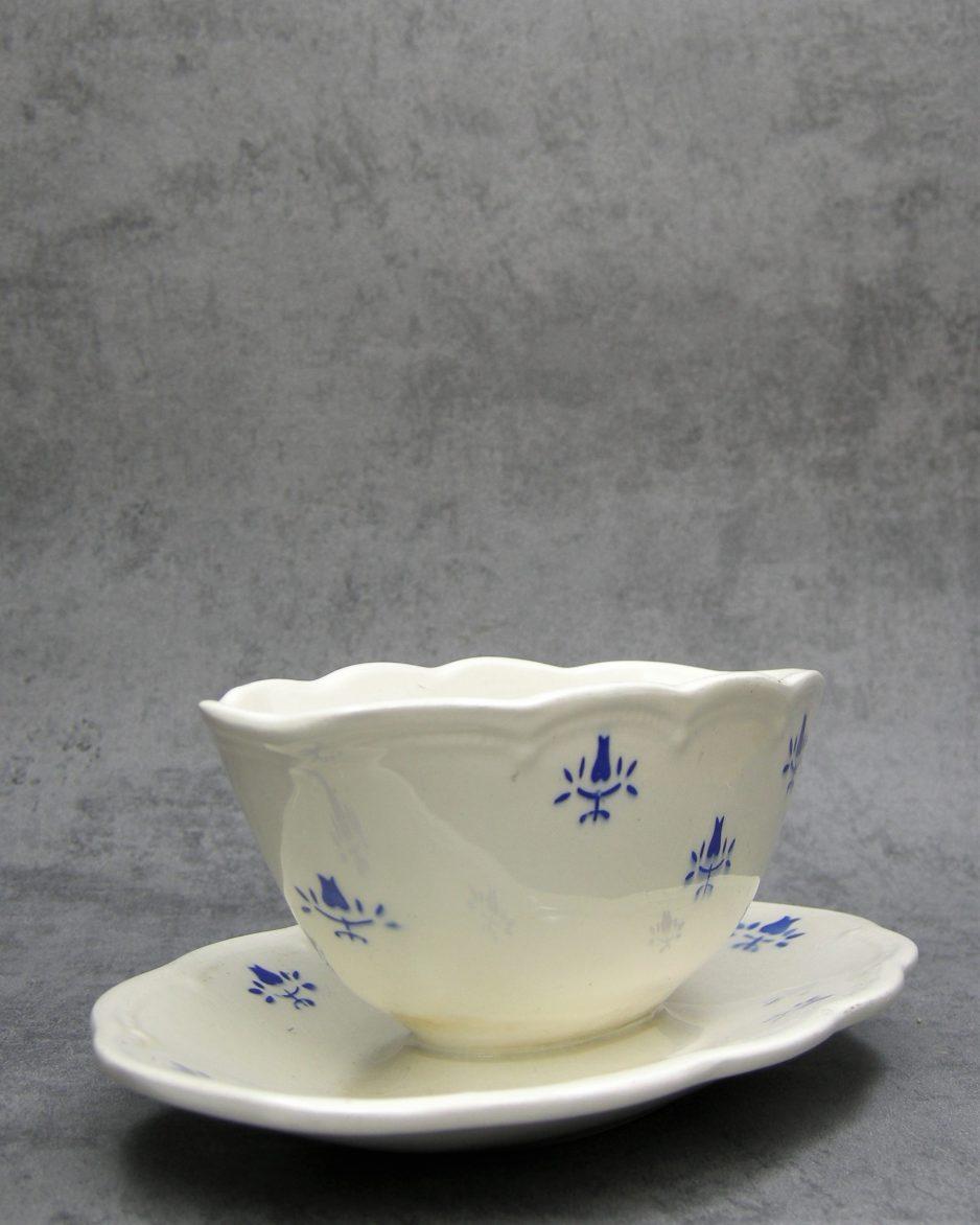 949 - sauskom Made in Belgium Boch la Louviere wit - blauw