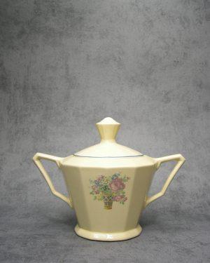 979 - potje met deksel Digoin-Sarreguemines France crème met bloemen