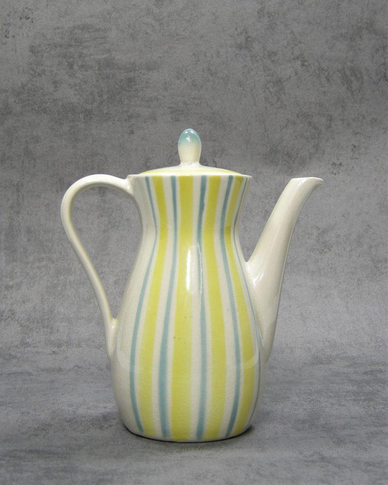 980 – theepot met strepen wit – geel – blauw