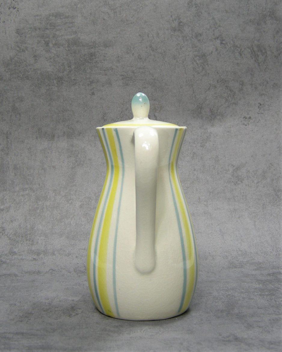 980 - theepot met strepen wit - geel - blauw