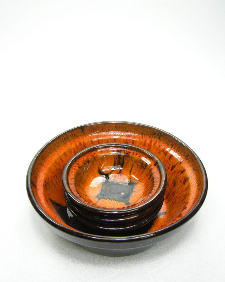 981 – pinda set met 3 schaaltjes oranje-zwart