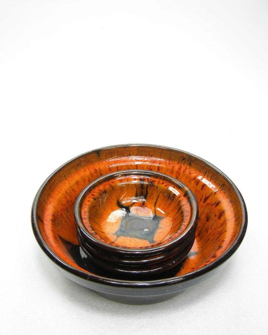 981 - pinda set met 3 schaaltjes oranje-zwart